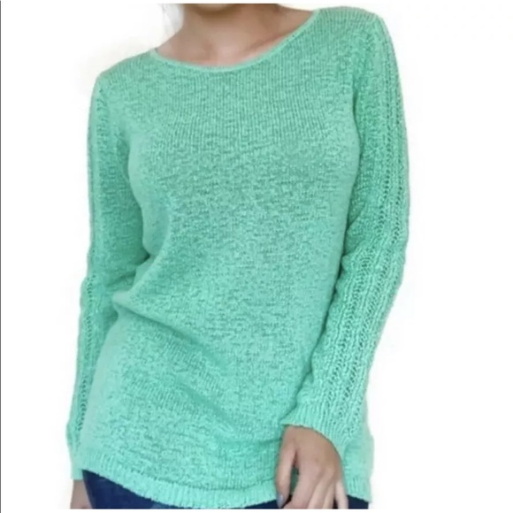 Rachel Zoe mint green Karla sweater open cable M